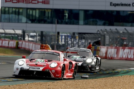 Spirited performance in the early phase keeps Porsche within striking distance at LeMans